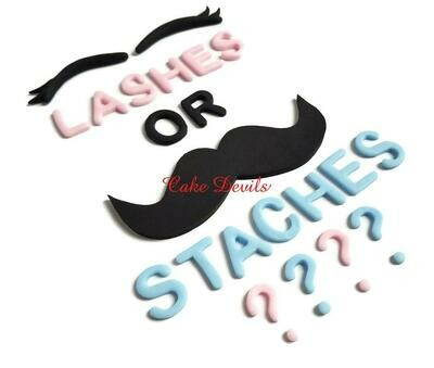 Lashes or Staches Gender Reveal Cake Topper, Fondant