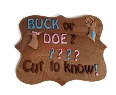 Buck or Doe Gender Reveal Fondant Gender Reveal Cake Topper