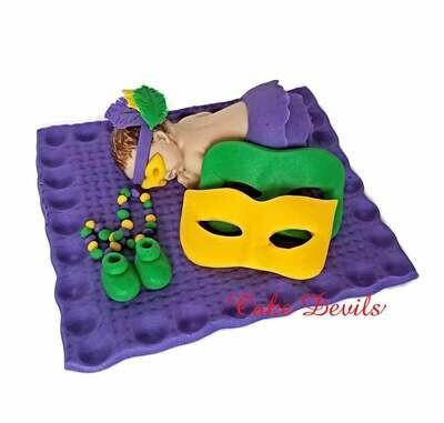 Fondant Mardi Gras Masquerade Mask Baby Shower Cake Topper