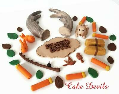 Hunting and Fishing Cake Toppers with Fondant Deer and Antler Cake Decorations
