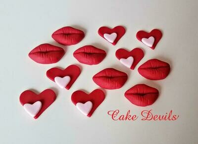 Heart & Lips Cupcake Toppers, Edible Valentine's Day Cake Decorations