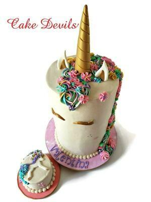 Fondant Unicorn Horn, Ears, and Eye lashes Cake Toppers, Unicorn Cake Kit