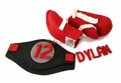 Boxing Gloves Cake Topper with Boxing Belt and name Fondant Gloves with White laces