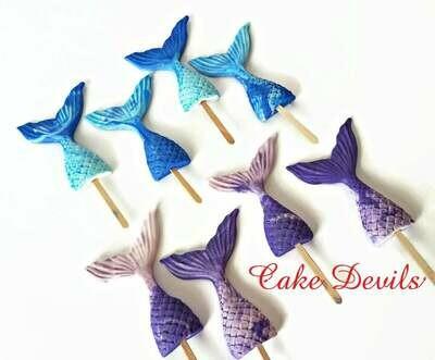 Mermaid Tail Fondant Cupcake Toppers, Fondant Mermaid Tails, Under the Sea cake decoration