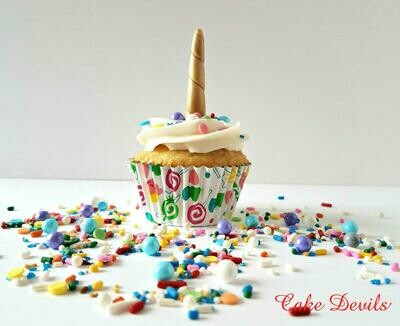 Gold Fondant Unicorn Horn Cupcake Toppers and Unicorn Sprinkles