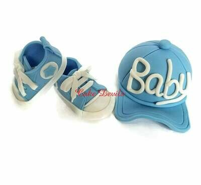 Baby Baseball Cap and Sneakers Fondant Cake Toppers for Baby Shower