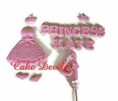 Princess Dress Cake Decorations, Fondant Princess Dress, Fondant crown, Fondant Shoes, Princess birthday party, Bridal Shower Cake, Birthday Cake