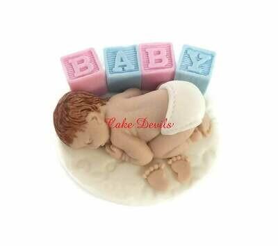 Fondant Baby Shower Sleeping Baby Cake Topper with Blocks