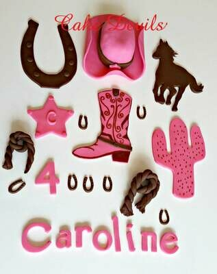 Cowgirl Country Western Cake Topper Kit, handmade edible, fondant cowgirl hat, horseshoe, horse, cowboy boots, and cactus cake decorations