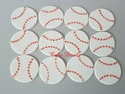 Fondant Baseball Cupcake Toppers, Baseball Cake Decorations