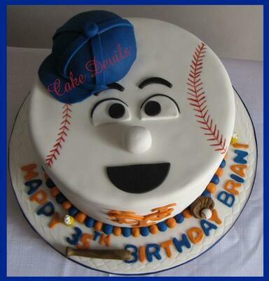 Baseball Face Cake Topper Kit and Baseball Cake Decorations, Mr Met cake