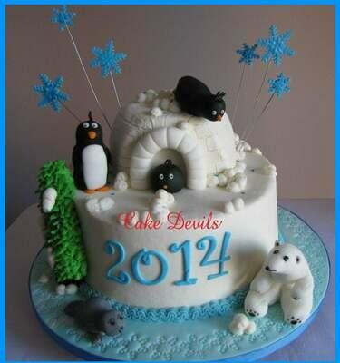 Winter Animal Fondant Cake Topper Kit, Penguin, Polar Bear, Baby Seal Cake Decorations, handmade edible, Igloo cake
