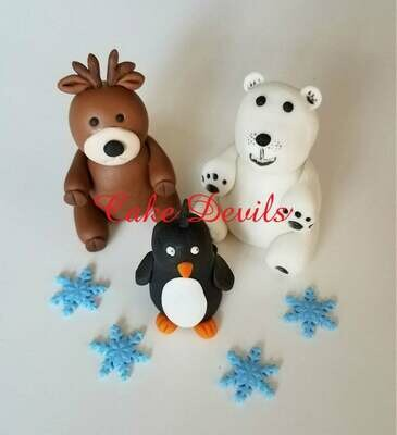 Winter Animals Fondant Cake Topper Kit, Penguin, Polar Bear, Reindeer, fondant snowflakes Cake Decorations