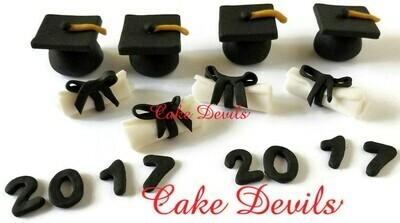Fondant Graduation Cupcake Toppers, handmade edible Graduation Cap and Diploma