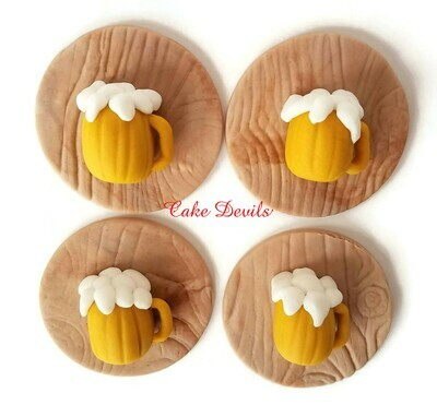 Beer Mug Fondant Cupcake Toppers, great for a birthday party or picnic!