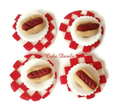 Hot Dogs Fondant Cupcake Toppers, great for a birthday party or picnic!
