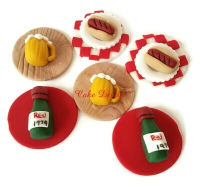 Wine Bottles, Hot Dogs, and Beer Mugs! Fondant Picnic themed Cupcake Toppers
