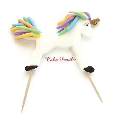 Small Unicorn Cake Topper, Standing Fondant Unicorn with Rainbow Hair
