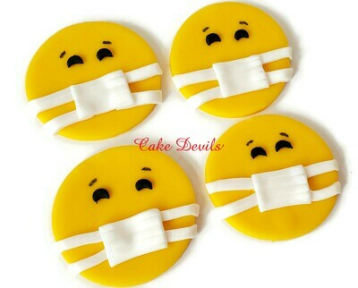 Face Mask Cupcake Toppers, Fondant Face Mask emoji Cupcake Toppers, Perfect to celebrate a quarantine Birthday