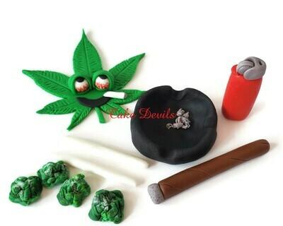 Pot Leaf Cake Topper set, Fondant Pot Leaf, Fondant Marijuana Cake Decorations, Cannabis, blunt, ash tray
