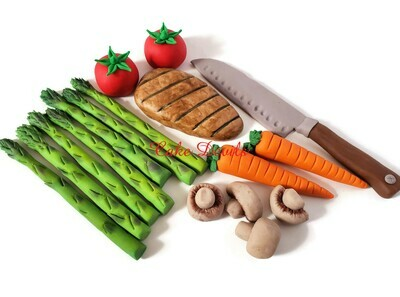 Chef's Cake Food Toppers, Fondant Chef's Knife cake Decorations, Fondant vegetables, chicken, carrots, Asparagus Cake, Tomatoes