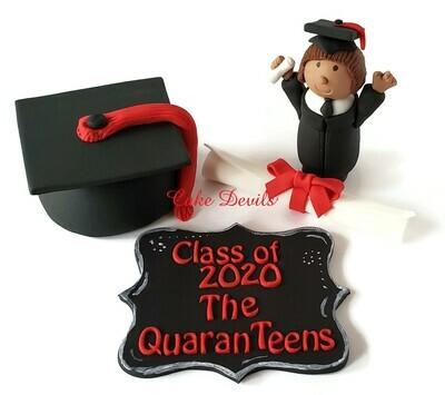 Class of 2020 Quaranteens Graduation Cake Toppers, Quarantine Graduation Fondant Cake Decorations, Graduation Cap, Plaque, Diploma