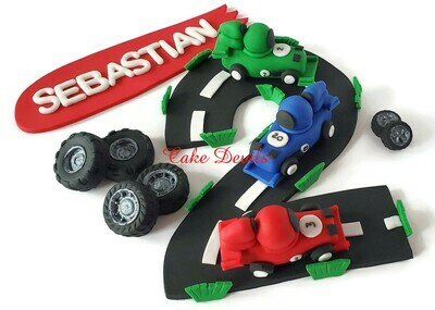 Race Car Cake Toppers, Fondant Race Cars, Race Track, Number Road, Fondant Tires, Banners, Helmet, and Finish Line