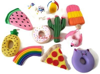 Fun Shape Fondant Pool Party Cake Toppers, Unicorn, Pizza, Doughnut, pineapple, and more!