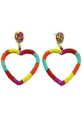 Heart Silhouette Beaded Earrings