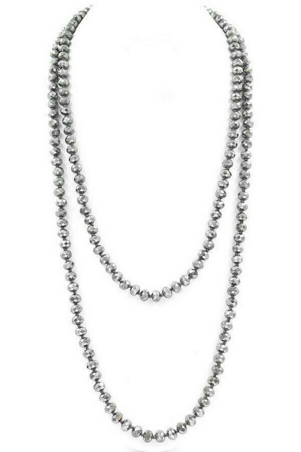 Threaded Faceted Glass Bead Necklace