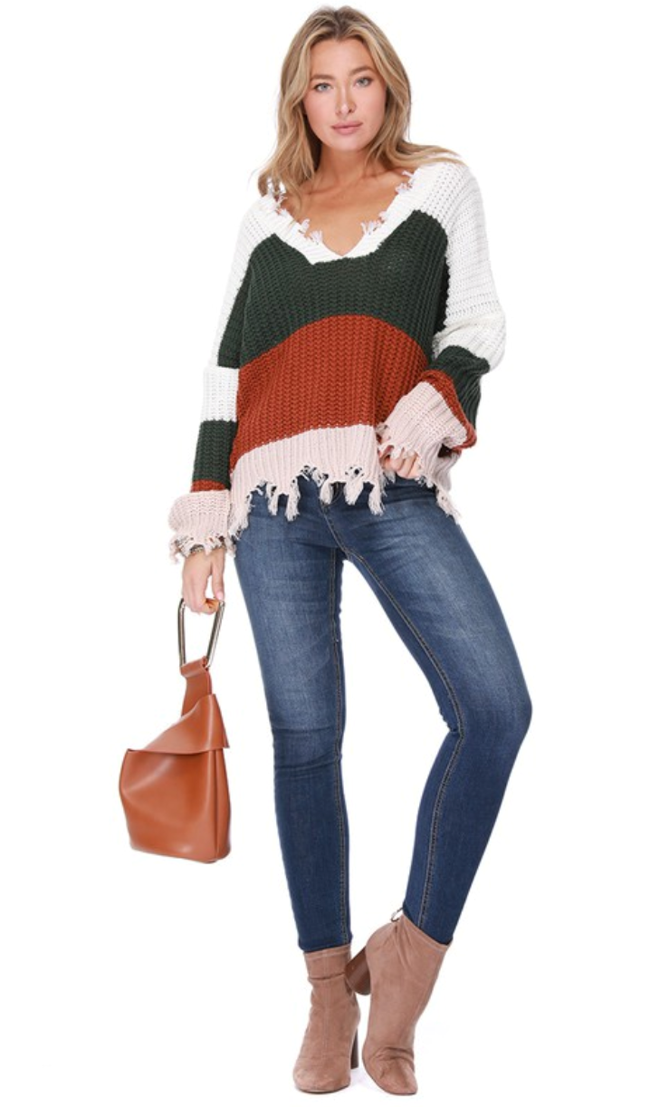 Color Blocked Frayed Sweater