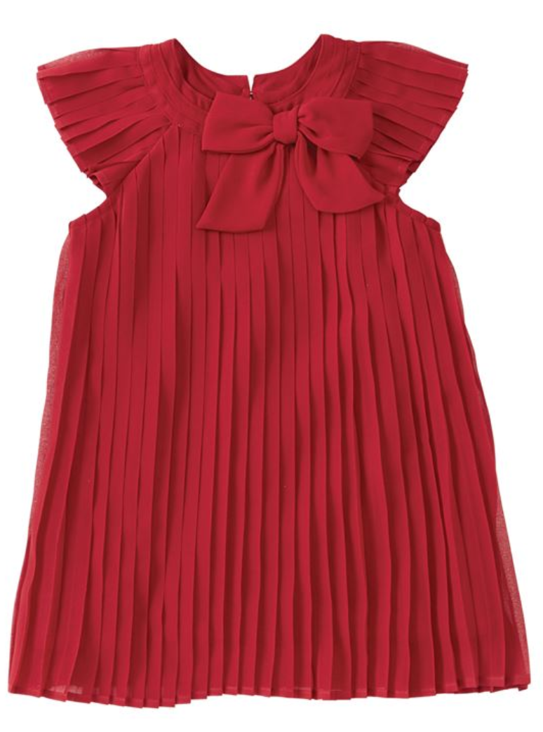 Red Claret Pleated Dress