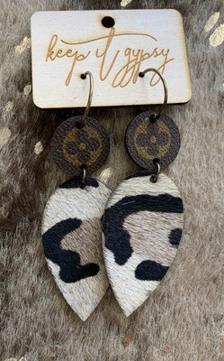 Upcycled White Leopard Dangle