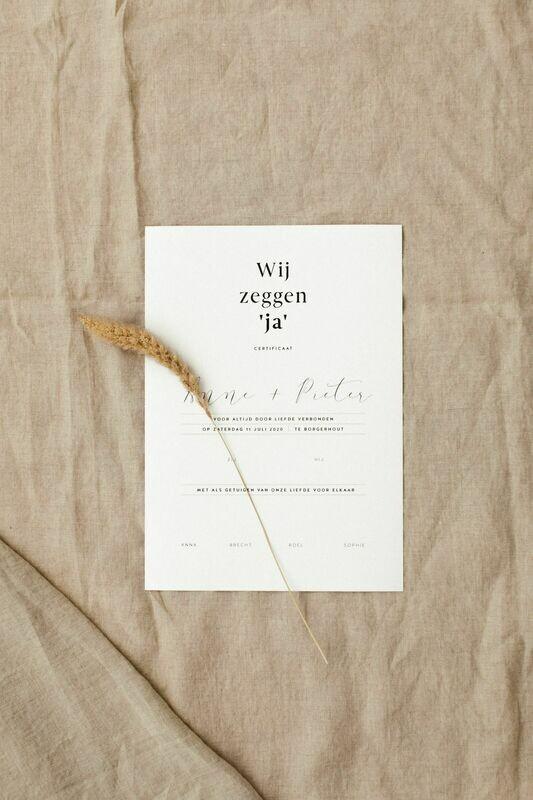 'Wij zeggen ja' huwelijkscertificaat