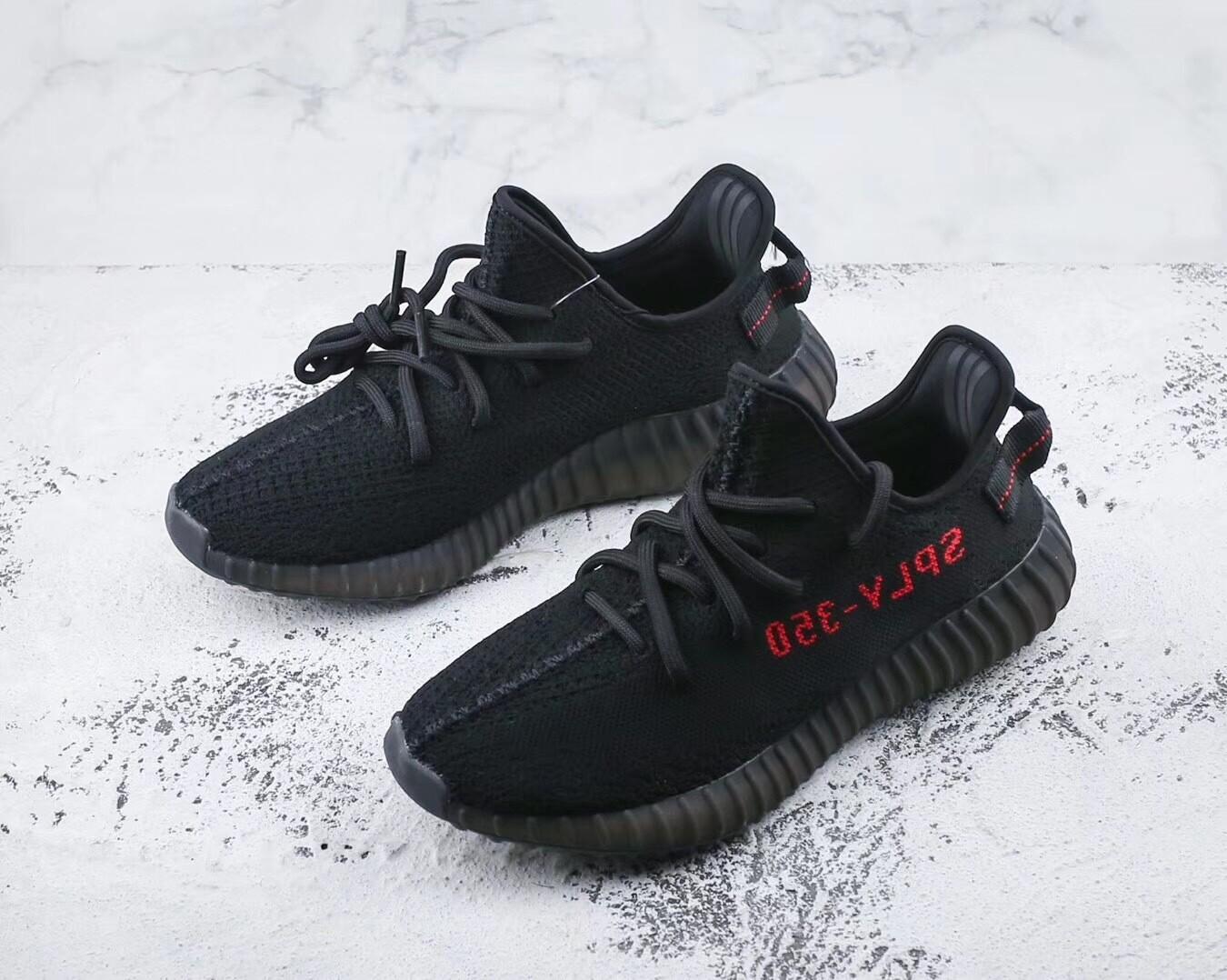 Yeezy 350 Boost V2 Black Red Runner Shoes