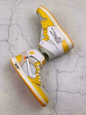 Men's/Women's  Air Jordan 1 Powder Blue 1 Low ' OW Yellow/White'