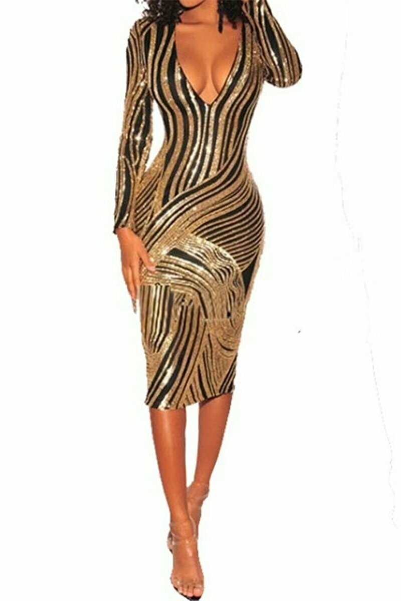 Golden charmed Sequins Dress