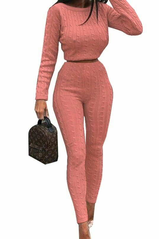 Rose Gold baby Knitted two piece set