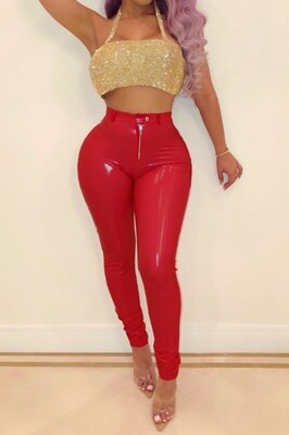 Red bottom Pu pants