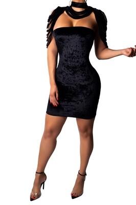 Empress black over layered dress