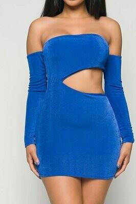 Bloom in Blue Cut out mini Dress