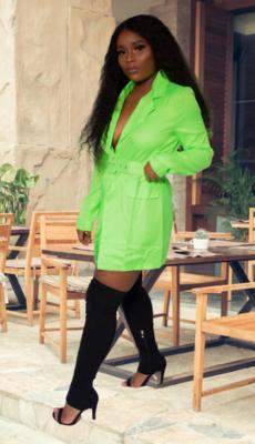 Goddess of light Lime green Irregular blazer