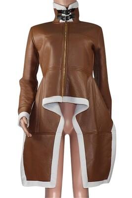 90's spice Irregular Wool leather Jacket