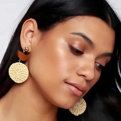 Bohemian Glow Rattan Earrings