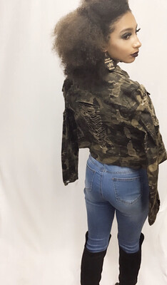 Perfectly Ripped Camo Distressed Denim Jacket