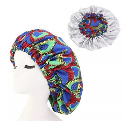 African Print Double Satin Bonnet