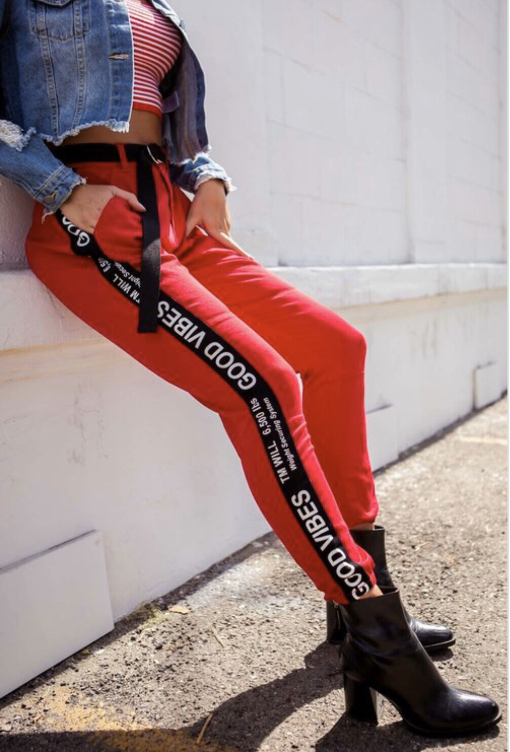 Good Vibes Only Belted Plus Size Jogger Pants