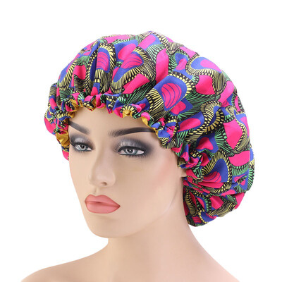 Adjustable Mommy & Me African print double lined Bonnet