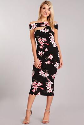 Rose off shoulder Midi dress