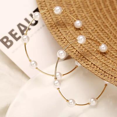 Hoop de Loop Big Pearl Hoop Earrings